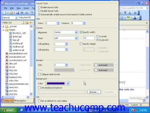FrontPage Tutorial Inserting Tables Microsoft Training Lesson 11.1