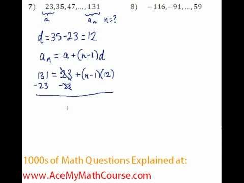 Arithmetic Sequences - Finding the Number of Terms Question #7