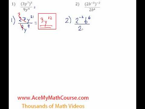 Exponents - Simplifying Expressions #1-2