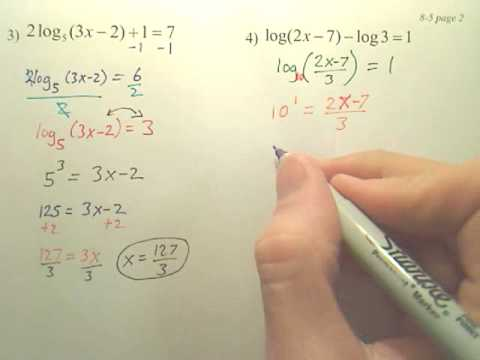8.5b p2 Exponential and Logarithmic Equations  Algebra 2