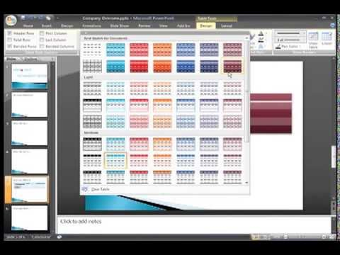 PowerPoint 2007: Working with Tables