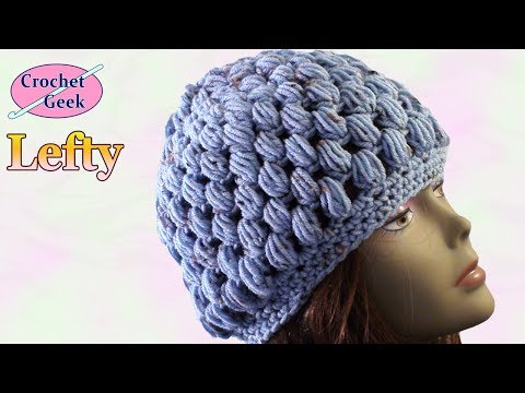 Left Hand Crochet Puff Stitch Hat