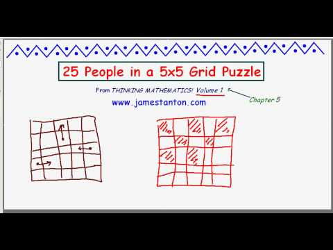 25 People in a Square Grid Puzzle (TANTON Mathematics)