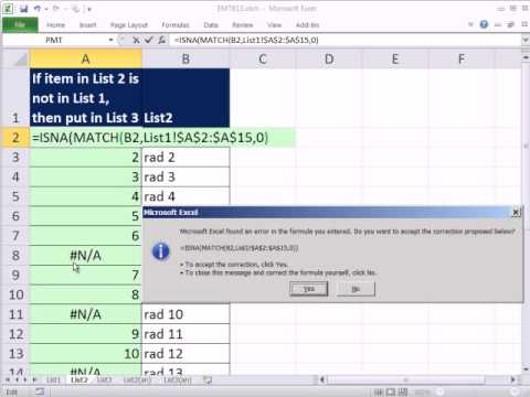 Excel 2010 Magic Trick 813: Compare Two Lists Extract Items In List 2 That Are Not In List 1