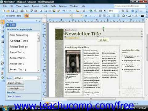 Publisher 2003 Tutorial Changing Text Alignment Microsoft Training Lesson 4.5