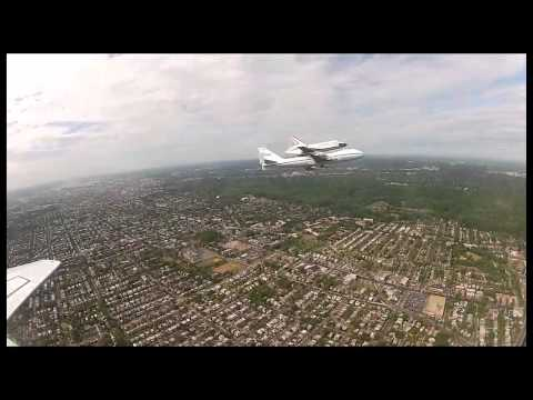 Discovery Flyovers Delight D.C. Area as Seen from a T-38 Chase Aircraft