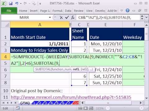 Excel Magic Trick 756.5: Add Monday To Friday Sales Only From Totals On Many Sheets