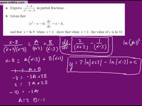 (11) Separable differential Equations Core 4 (exam style question)