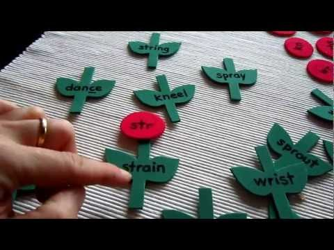 Preschool - Reading-Phonics: flower game for blends str spr scr shr squ spl wr kn soft c and g.