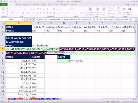 Excel Magic Trick 748: Count Weekends With No Events Scheduled Formula