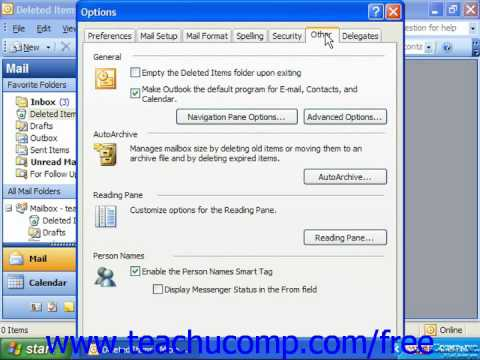 Outlook 2003 Tutorial Automatically Deleting Items Microsoft Training Lesson 8.5