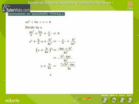 Solution of Quadratic Equations By Completing The Square