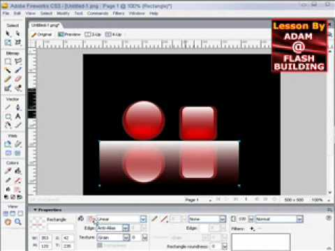 Shiny reflective gel buttons video tutorial in Adobe Fireworks CS3 CS4 CS5