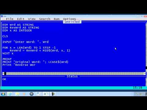 QBasic Tutorial 23 - Palindrome Program - QB64
