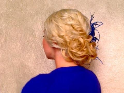 Easy curly updo hairstyles for medium long hair Wedding / prom hair tutorial