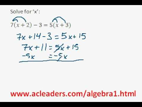 Algebra 1 - Solving Equations w/ Distributive Property (pt. 2)