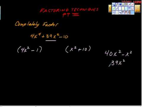 Factoring Techniques Part III (Algebra)