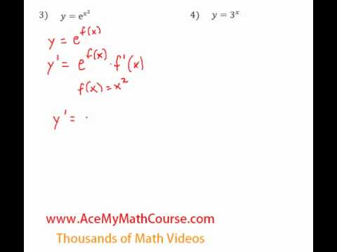 Derivatives of Exponential Functions - Questions #3-4