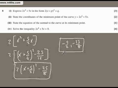 (q8) OCR 2010 May Core 1 - Very short worked answers only