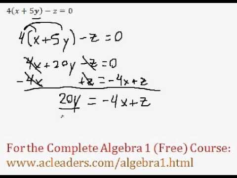 (Algebra 1) Isolating Variables - Question #3