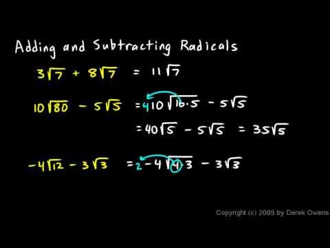 Algebra 1  11.8b - Examples of Adding and Subtracting Radicals
