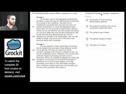 Grockit SAT TV Course Lesson 1, Part 3 (Critical Reading)