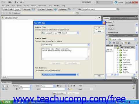 Dreamweaver CS5 Tutorial Creating Class Styles Adobe Training Lesson 8.3