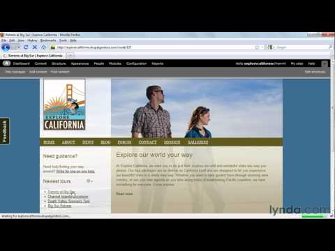 Drupal Gardens project example | lynda.com Drupal Gardens Essential Training course