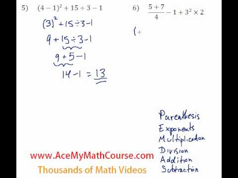 Basic Algebra Review - Order of Operations #5-6