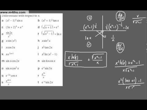 (2) Core 3 - Revision of differentiation techniques (Chain and Product rule)