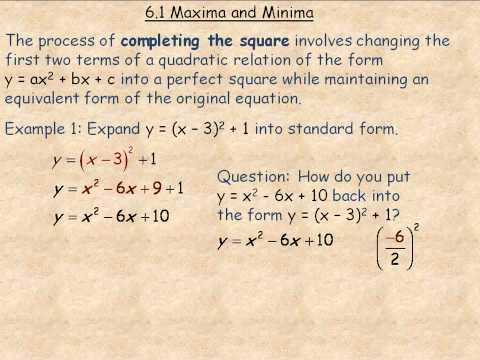Maxima and Minima Part 1