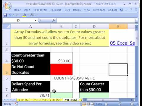 YTLE#56: Excel Count Unique Values Greater Than $30