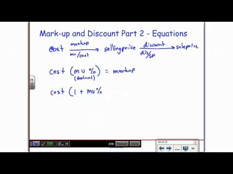 Markup and Discount Part 2 - Equations