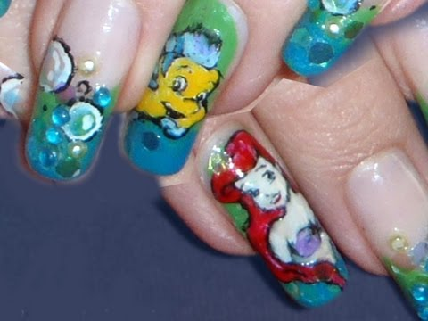 Disney: *Ariel & Flounders* Nail Art Design Tutorial