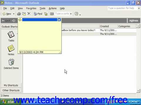 Outlook 2003 Tutorial Creating Notes XP & 2000 Microsoft Training Lesson 12.2