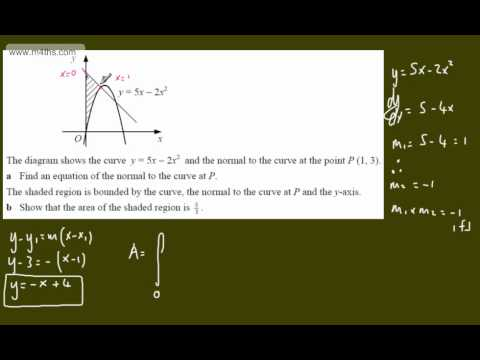 (11) Core 2 Integration (Finding a normal and then integrating-exam question)