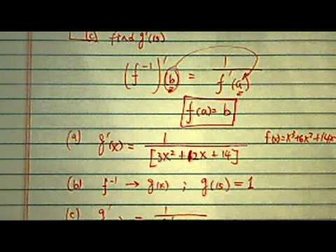Derivative of Inverse Function:  f(x)=x^3+6x^2+14x-6 has inverse g(x).  Find g'(x)