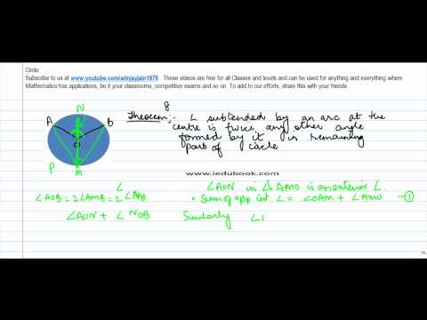 137.Maths Class IX   Angle subtended by an arc at centre is two times of angle