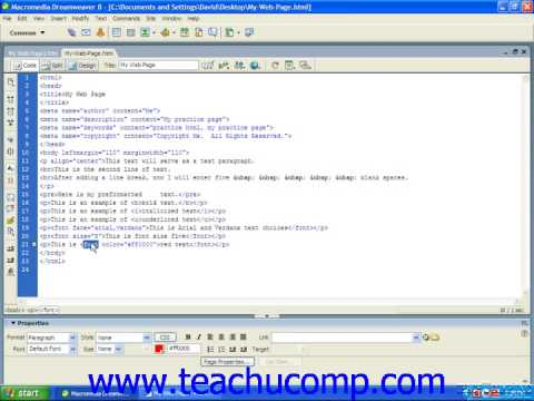 HTML Tutorial Text Color Training Lesson 4.7