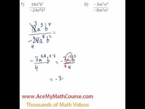 Polynomials - Dividing Monomials #7-8
