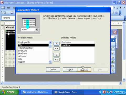 Access 2003 Tutorial Adding Combo Box Controls Microsoft Training Lesson 12.6