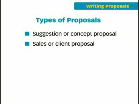The Key Forms of Business Writing: Proposals