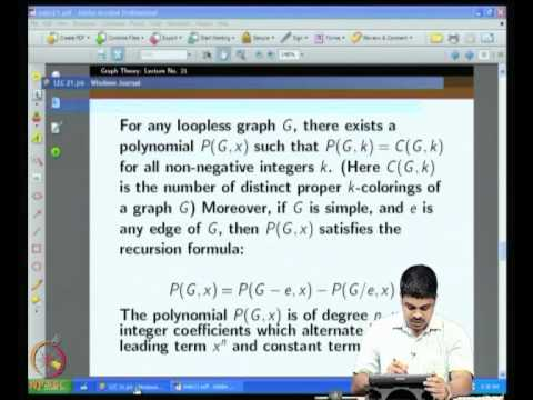Mod-03 Lec-21 Chromatic polynomial, k - critical graphs