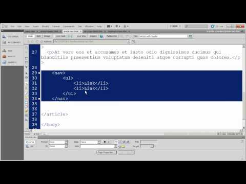 5- HTML5 Fundamentals with Dreamweaver CS5 - Semantic Structural Tags - Part 2