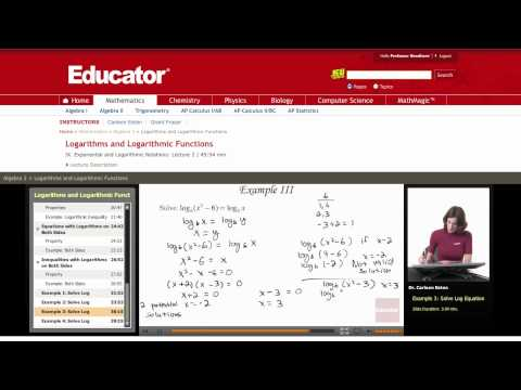 Algebra 2: Logarithms and Logarithmic Functions