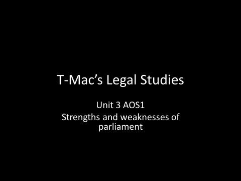 VCE Legal Studies - Unit 3 AOS 1 - Strengths and weaknesses of parliament