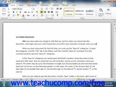 Word 2010 Tutorial Undoing and Redoing Actions Microsoft Training Lesson 3.3