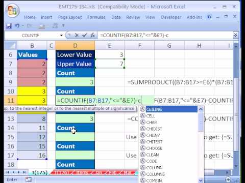 Excel Magic Trick #175: Count Between Upper & Lower Value