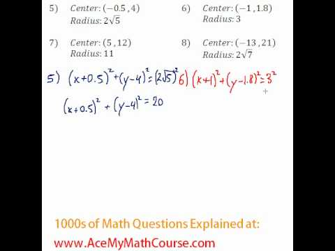 Conics - Finding the Equation of Circles #5-8