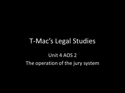 VCE Legal Studies - Unit 4 AOS2 - The operation of the jury system